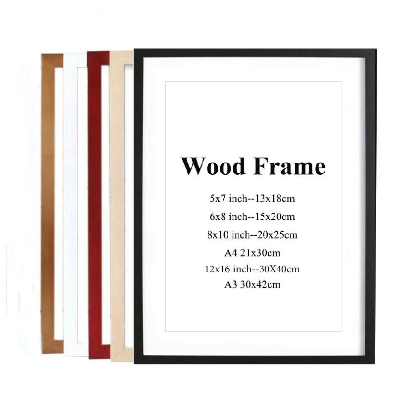 Цветная деревянная фоторамка в скандинавском стиле, деревянная рамка, натуральная простая деревянная рамка, Настенная Монтажная фурнитура...
