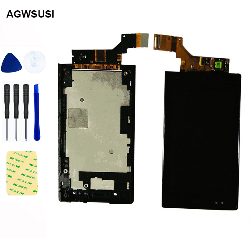 For <font><b>Sony</b></font> Xperia U ST25i <font><b>ST25</b></font> ST25a LCD Display Monitor Panel Module + Touch Screen Digitizer Sensor Assembly with Frame image