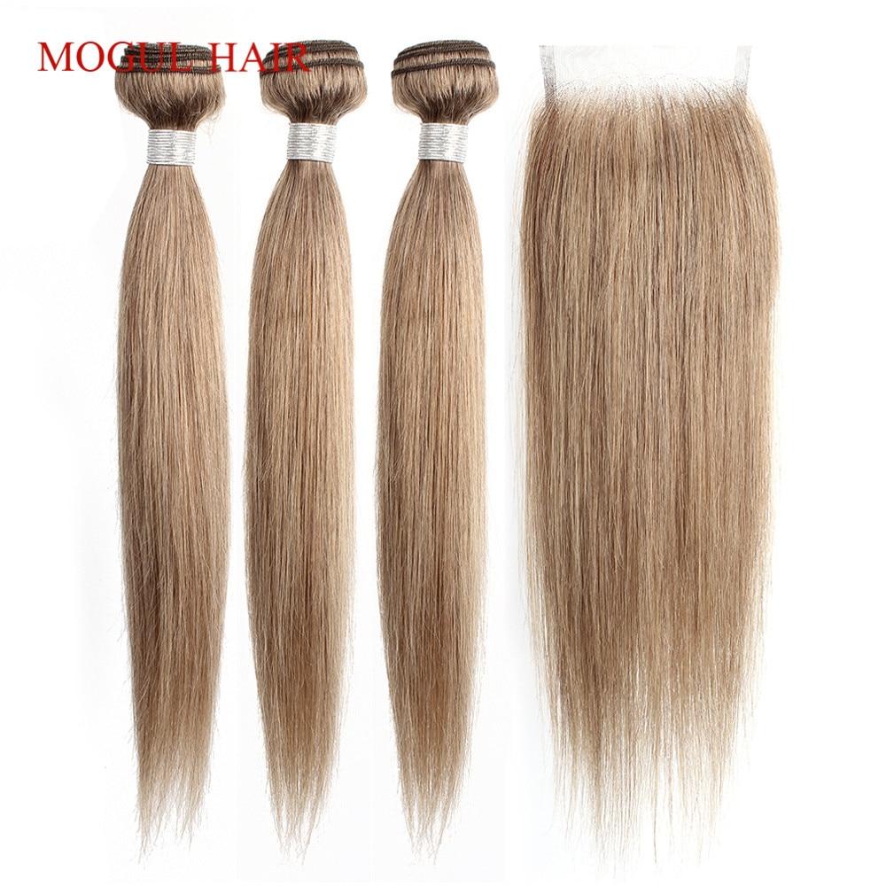Bobbi Collection 2/3 Bundles With Lace Closure Color 8 Ash Blonde Indian Straight Hair Weave Bundles Non Remy Human Hair