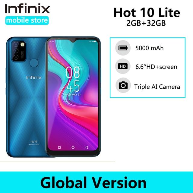 Global Version Infinix Hot 10 Lite Smart Phone 6.6''HD screen 5000mAh Battery 1600*720P 13MP Camera Helio A20 1