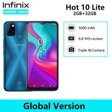 Versão global infinix quente 10 lite telefone inteligente 6.6 hd screen tela hd 5000mah bateria 1600*720p 13mp câmera helio a20