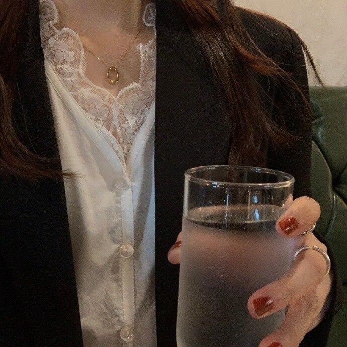 Heygirl noir élégant à manches longues sous vêtements dentelle Blouse femmes style coréen mince fée hauts 2019 - 3