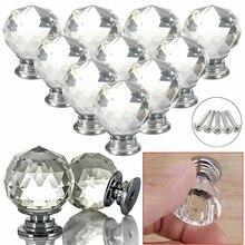 30 мм Алмазная форма дизайн хрустальные стеклянные ручки шкаф выдвижной ящик кухонный шкаф двери шкаф ручки Аппаратные аксессуары