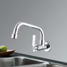 Copper Wall Mount Kitchen 360 Rotating Swivel Basin Sink Faucet Single Handle Cold Tap fold expansion basin sink tap
