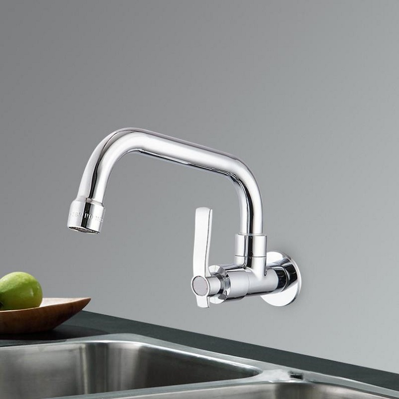 KKTNSG Copper Wall Mount Kitchen 360 Rotating Swivel Basin Sink Faucet Single Handle Cold Tap Fold Expansion Basin Sink  G1/2
