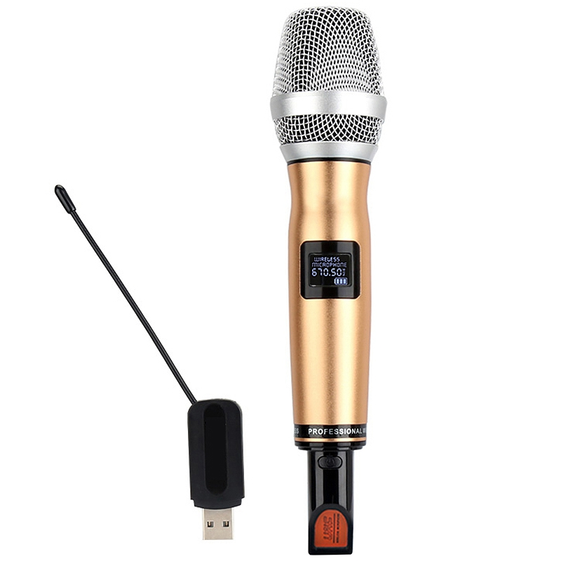 B.BMIC Uhf Wireless Handheld Vocal Microphone Audio Cable Usb Charge, Dynamic Microphone Mic For Karaoke Recording