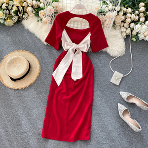 YuooMuoo Sexy Backless Bow Bandage Summer Dress Women Elegant Solid Side Split Midi Party Dress Ins Hot Red Black Bodycon Dress