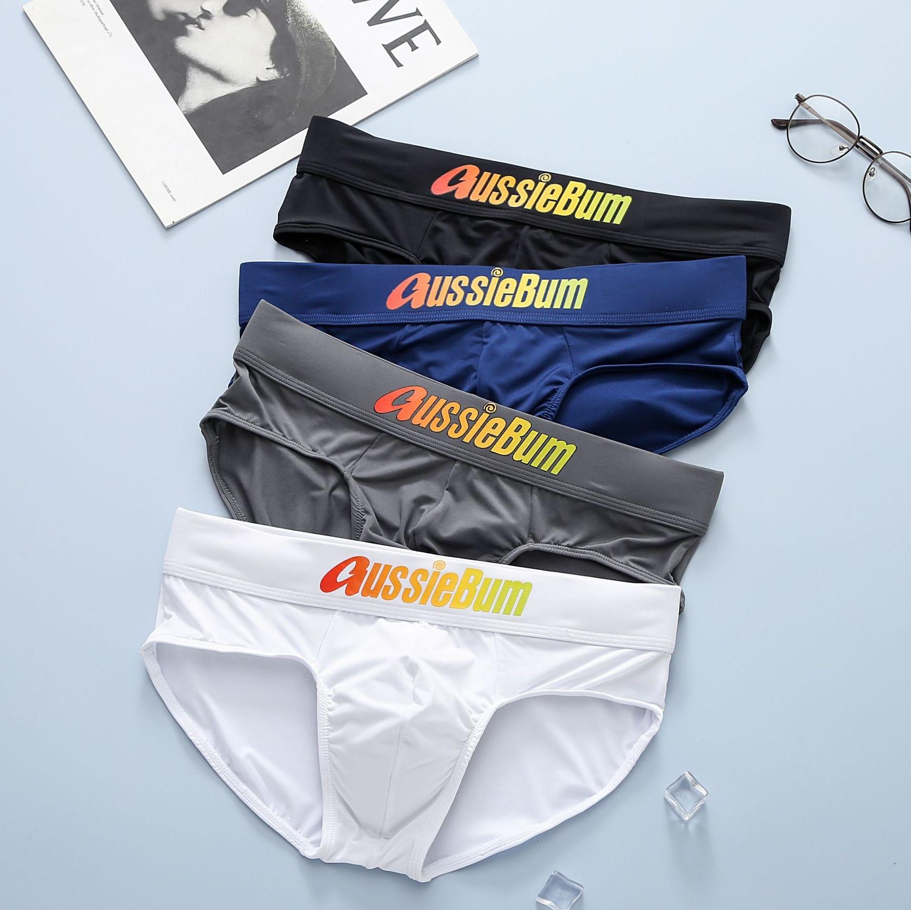 Aussiebum men's briefs milk silk low waist elastic comfortable u convex bag colorful words 1
