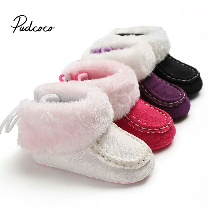 Brand Winter Fur Warm Baby Girls Boys First Walkers For Newborn Soft Sole Non-Slip Infant Cartoon White Cotton Shoes Sneakers