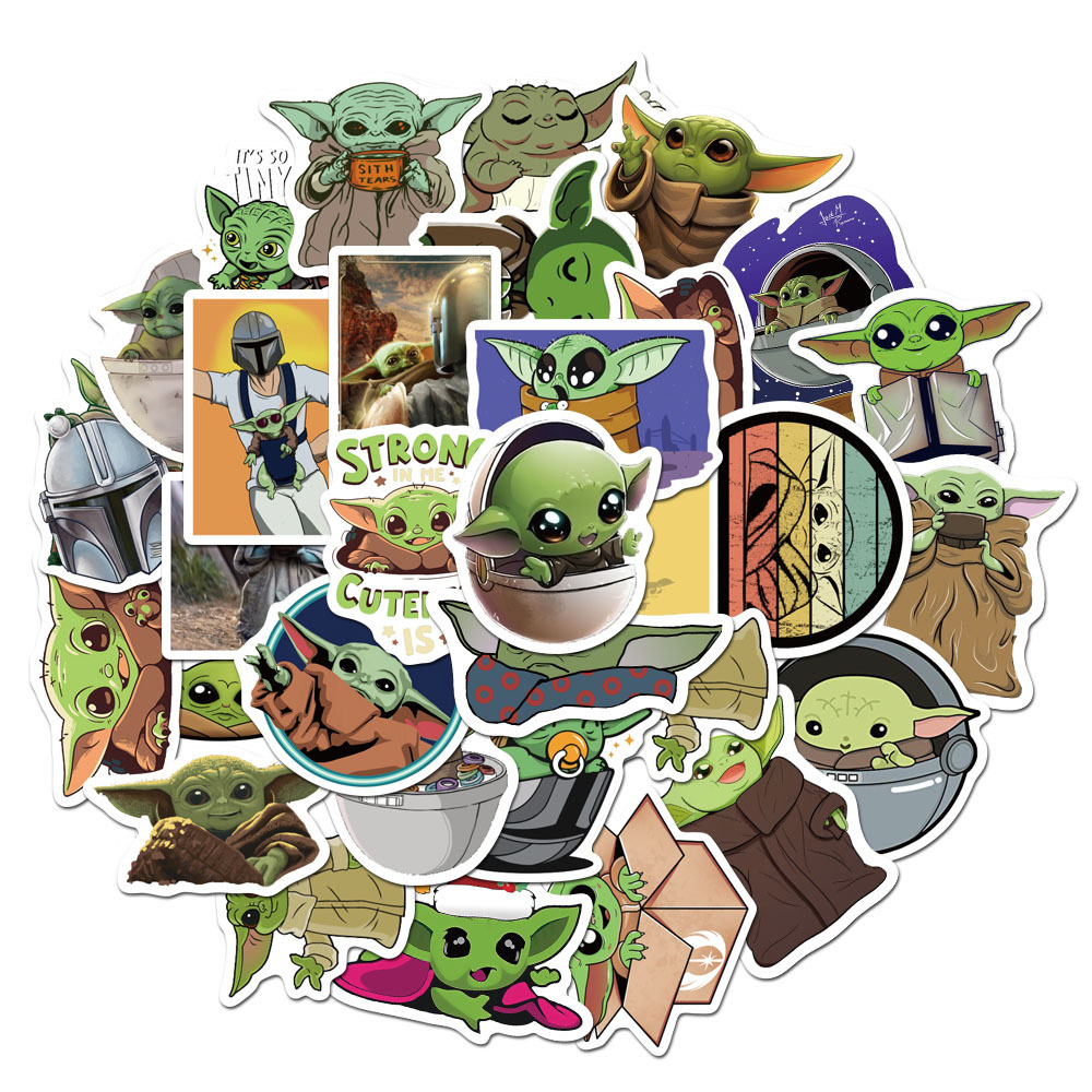 50Pcs/Set Yoda Stickers For Laptop Luggage Toys Car Motorcycle For Kids Car Stickers Decals