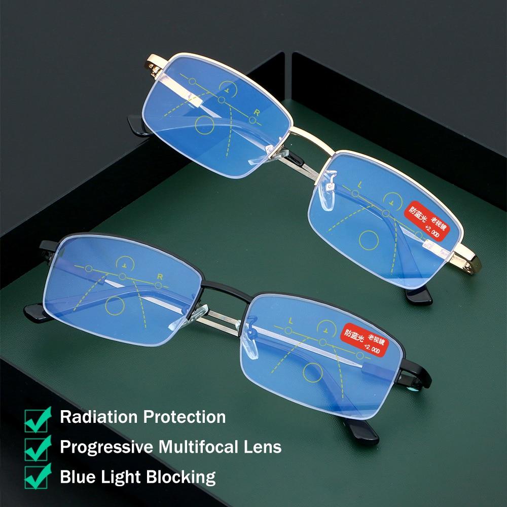 Ultralight Titanium Frame Reading Glasses Women Men Anti Blue Light Progressive Multifocal Eyewear Presbyopic Glasses +1.0~+4.0