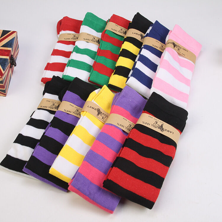 1Pair New Women Girls Over Knee Long Stripe Printed Thigh High Striped Patterned Socks Sweet Cute Warm Wholesale Lot  11 Colors