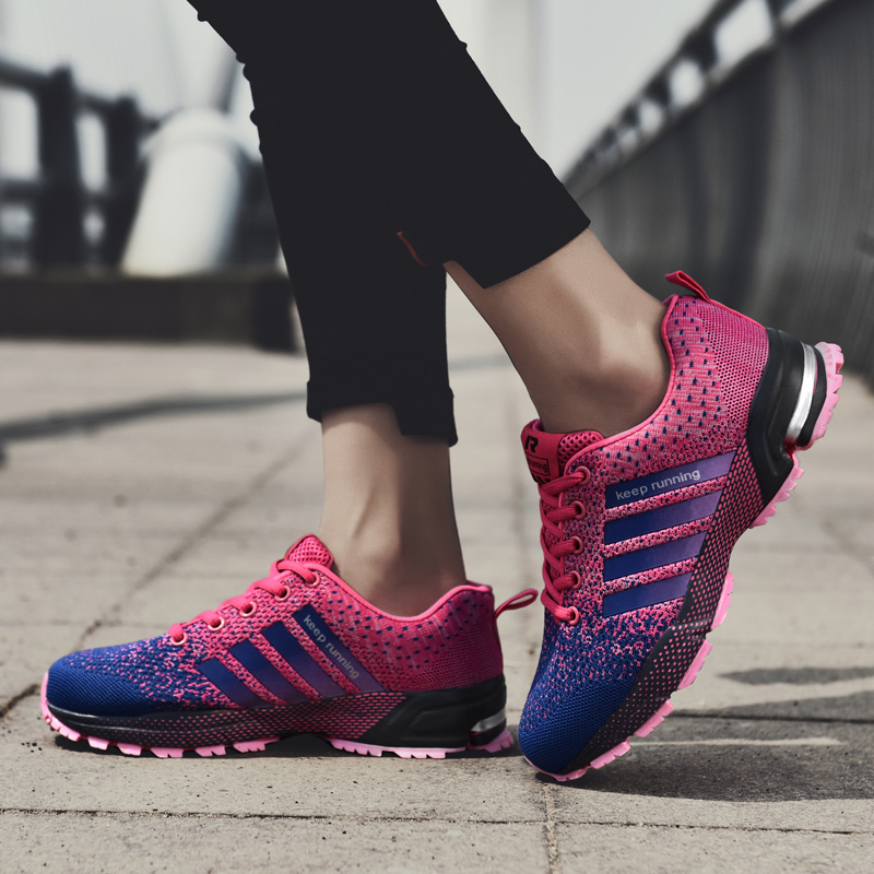 2019 Unisex Running Outdoor Breathable Shoes Women Lightweight Sports Sneakers for Men Medium(B,M) Breathable Rubber Shoes
