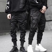 New Hip Hop Boys Multi-pocket Elastic Waist Harem Pant Men Streetwear Punk Trous