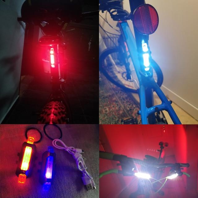 Luz da bicicleta usb led recarregável bicicleta conjunto de luz ciclo montanha frente e 3 cor voltar farol lâmpada lanterna 6