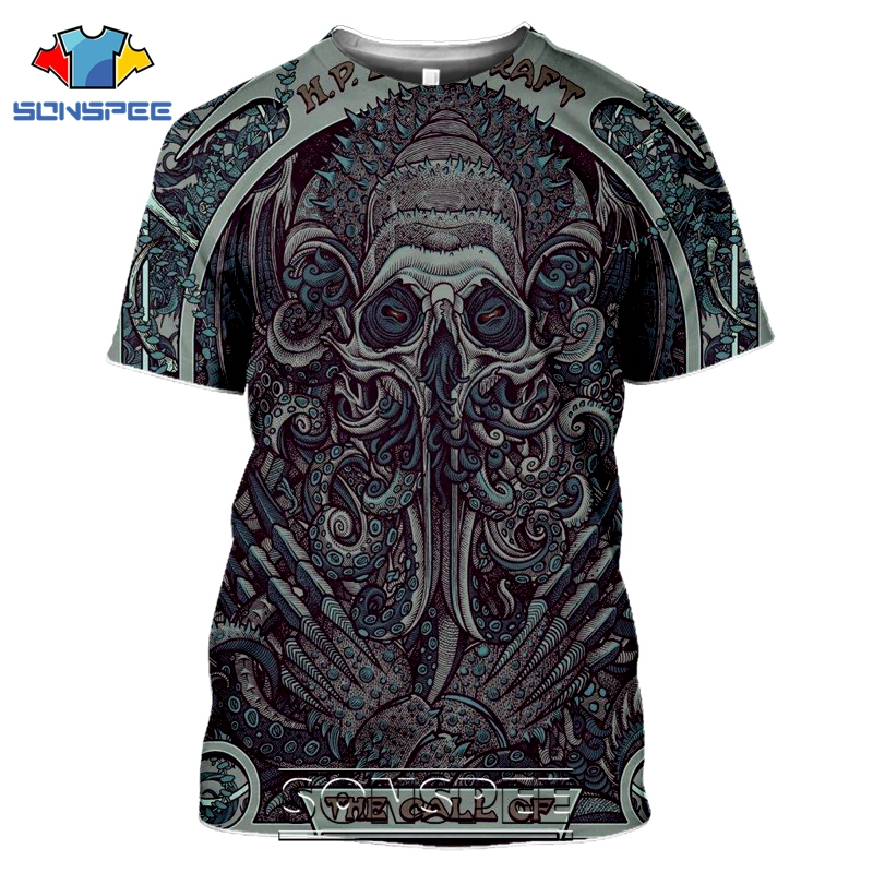 SONSPEE 3D Print Men Women Call Of Cthulhu T-shirts Casual Streetwear Harajuku Short Sleeve Lovecraft Horror Tees Tops Shirt