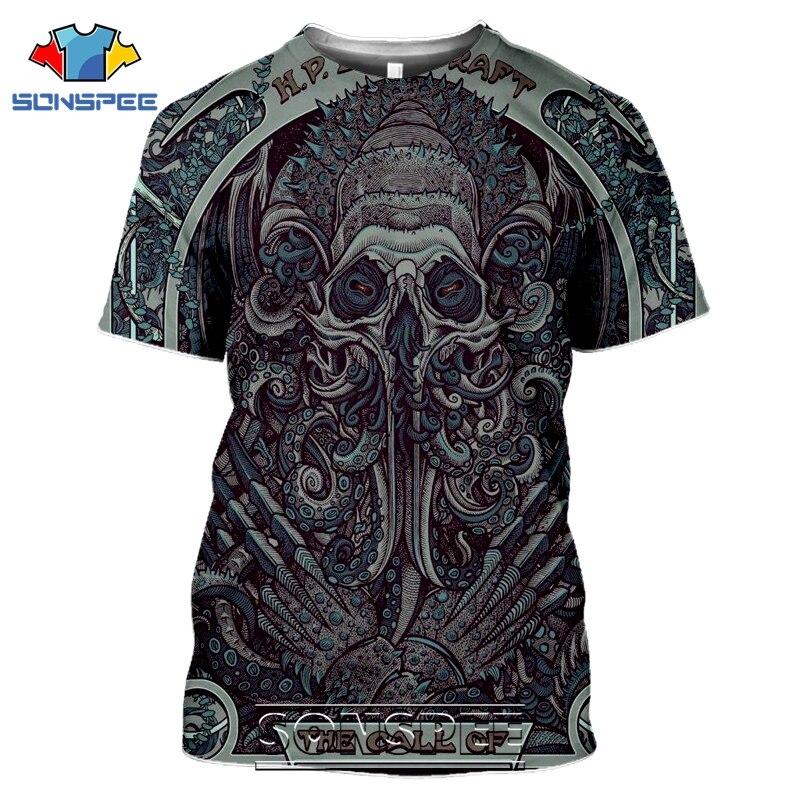 SONSPEE 3D Print Men Women Call Of Cthulhu T-shirts Casual Streetwear Harajuku Short Sleeve Lovecraft Horror Tees Tops Shirt