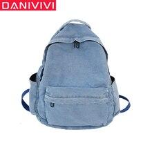 Casual Backpack Mochila School-Bags Large-Capacity Women Denim for Girls/boys Travel