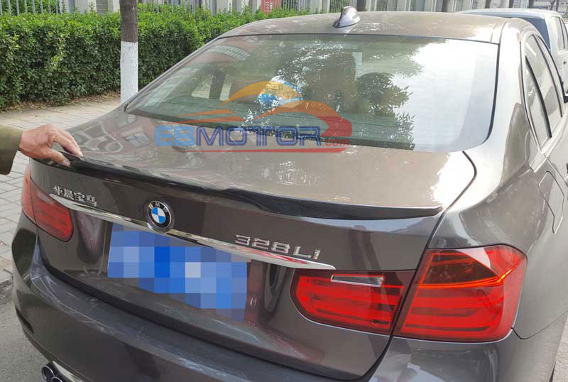 UNPAINTED V Style Trunk lip Spoiler For BMW 3-Series F30 F80 M3 4D Sedan 2012UP B244F image