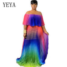 YEYA Women Print Chiffon Maxi Pleated Dress Elegant Strapless Bohemian Beach Fashion Floor Length Party Dresses