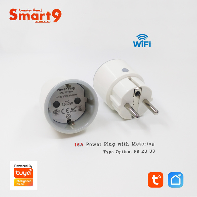 Smart9 Mini Wifi Smart Plug, 16A with Power Metering Max. 3680W, FR EU US Type Smart Life APP Remote Control, Powered by TuYa