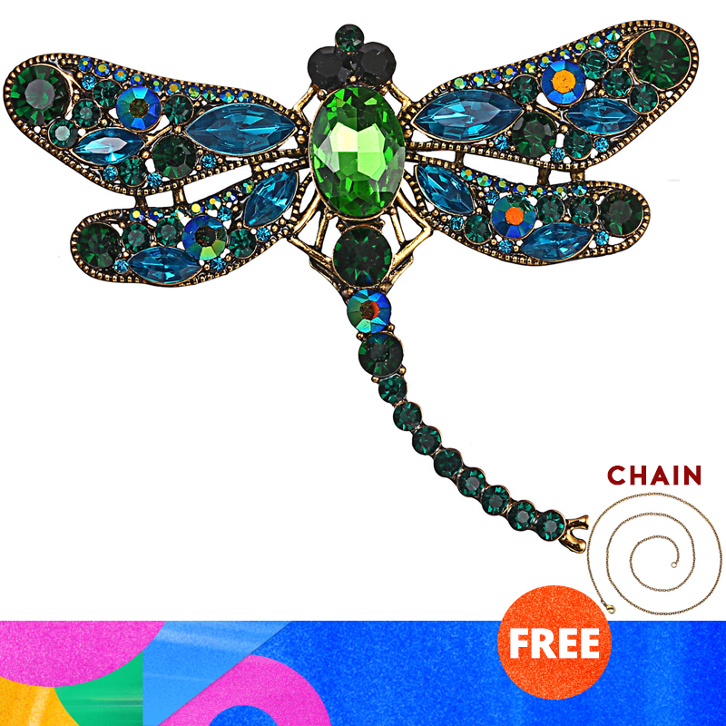 RINHOO Crystal Vintage Dragonfly Brooches for Women Large Insect Brooch Pin Fashion Dress Coat Accessories Cute Jewelry|Brooches| |  - title=