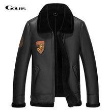 Мужская длинная куртка gours коричневая теплая из натуральной