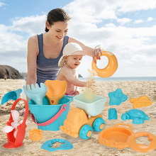 Summer Soft Plastic Baby Beach Toys Kids Mesh Bag Bath Play Set Party Cart Bucket Sand Molds Tool Water Game Gifts