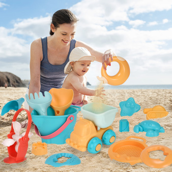 Summer Soft Plastic Baby Beach Toys Kids Mesh Bag Bath Play Set Beach Party Cart Bucket Sand Molds Tool Water Game Toys Gifts