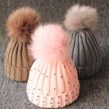 Новинка детская зимняя теплая вязаная шапочка для девочек с
