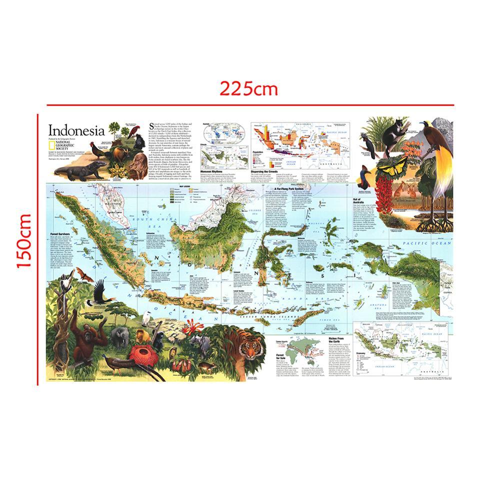 150x225cm Indonesia Map Peta Pendidikan Sekolah Siswa Peta Dekorasi Kantor