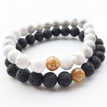 Wholesale 10 Style Beaded Bracelet Women Men Couple Accesories Fashion Natural Lava Volcanic White Pine Gifts