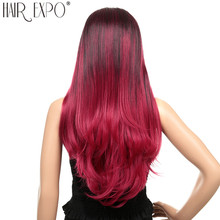 26inch Cosplay Wig Synthetic Ombre Hair Long Straight Lace Front Red Blue 13X4 For Black/White Women Expo City