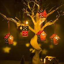 2020 New Year xmas decorations for home Colored (with light) Christmas cabin house creative DIY tree hanging
