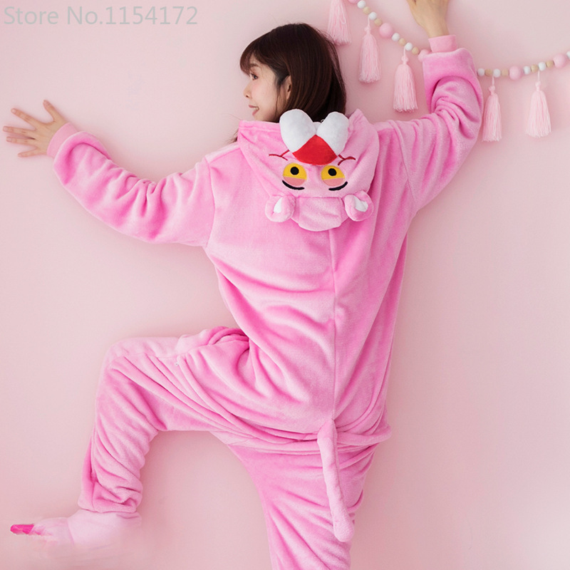 Kigurumi Long Sleeve Hooded Pink Panther Onesie Women Flannel Kigurumi For Adults Whole Onepiece Animal Pajamas Kugurumi