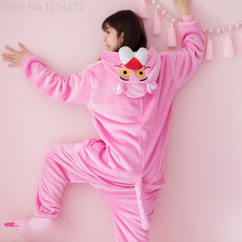 Kigurumi Long Sleeve Hooded Pink Panther Onesie Women Flannel Kigurumi For Adults Whole Onepiece Animal Pajamas Kugurumi