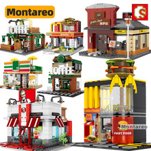 SEMBO MOC City Mini Street View Sence Fast Food Coffee Store Shop House Model Building Blocks Kids Toys For Boys Children Gifts