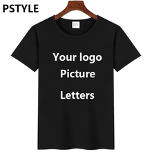 PSTYLE custom t shirts  Print Your Own Design logo/picture /letters black shirt summer short sleeve mens