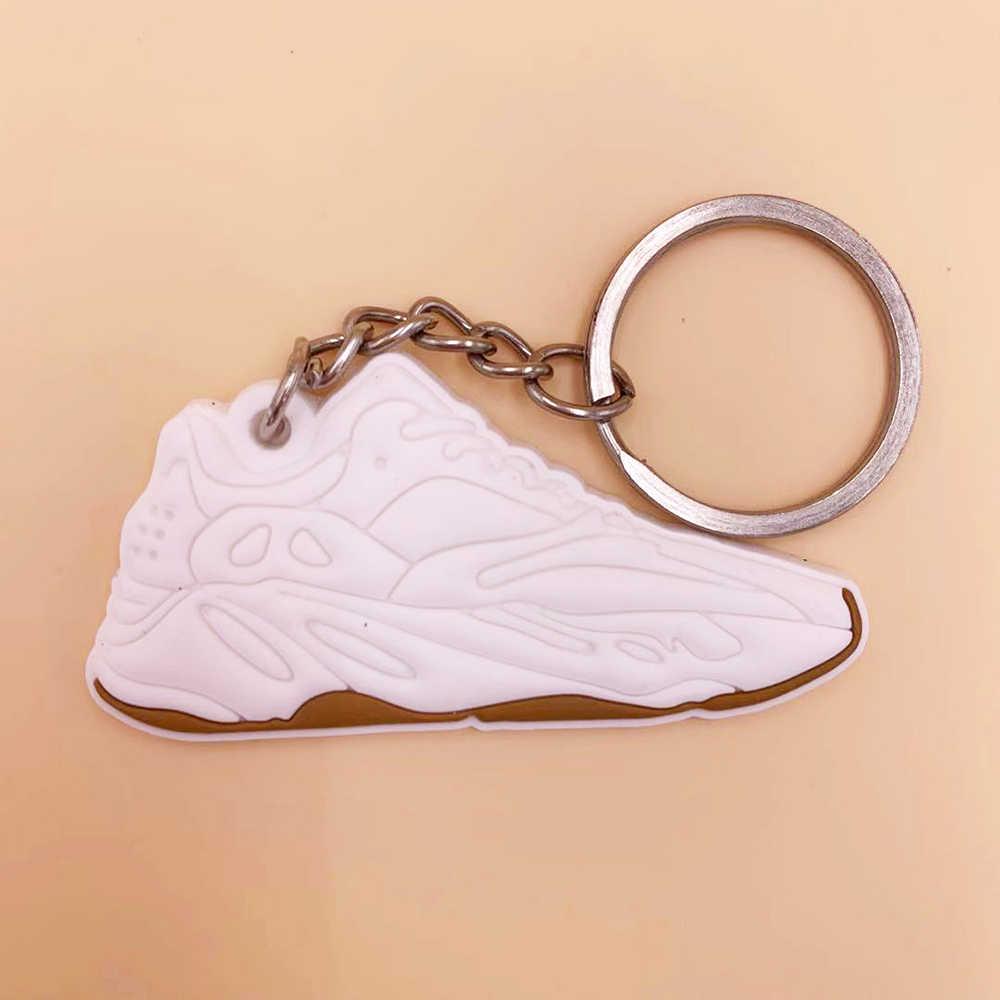 Nova cor mini silicone jordan chaveiro saco da mulher charme dos homens crianças chaveiro presentes tênis sapatos onda corredor chaveiro