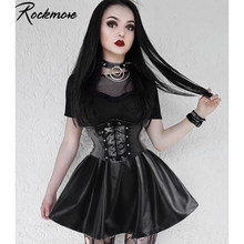 Rockmore Pu Lederen Nachtclub A-lijn Mini Rok Vrouwen Rits Gothic Punk Stijl Hoge Taille Sexy Micro Boven Knie Rokken Womens(China)