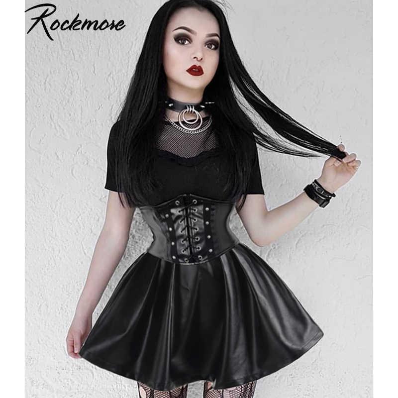 Rockmore PU Leder Nachtclub A-Line Mini Rock Frauen Zipper Gothic Punk Stil Hohe Taille Sexy Micro Über Knie Röcke Frauen