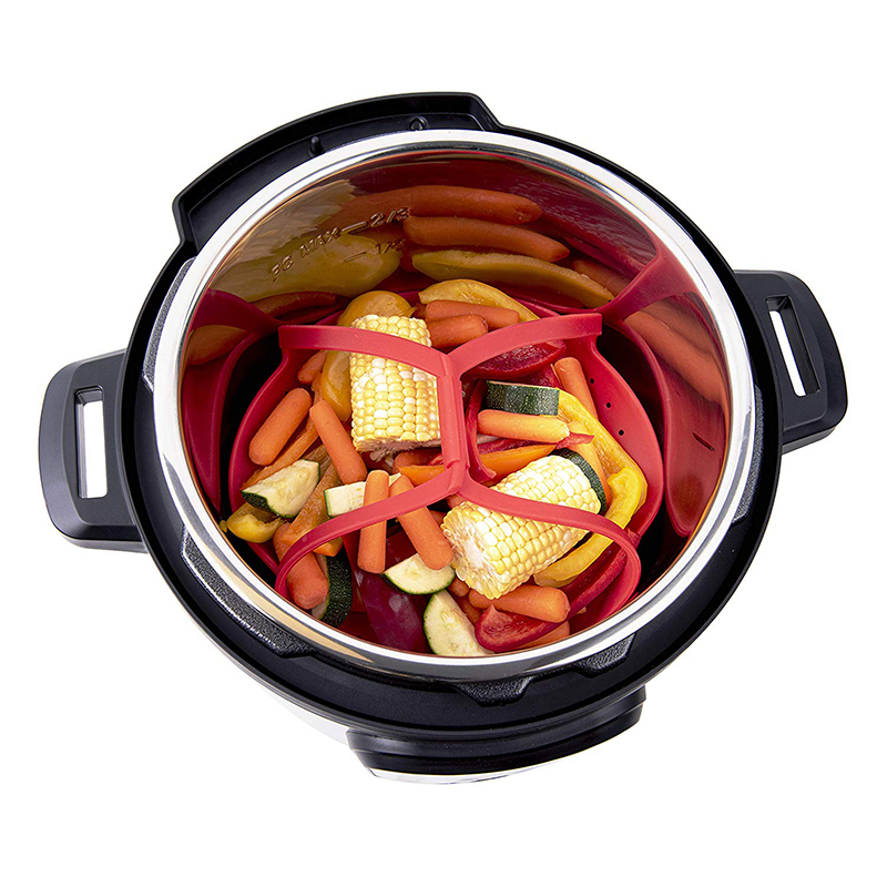 Silicone Foldable Steamer Basket For Steaming Food And Vegetable Heat Resistant Non-Scratch BPA-Free Kitchen Cooking Tools