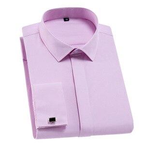 Мужская классическая Однотонная рубашка с французскими манжетами, формальная приталенная рубашка с длинными рукавами и планкой, рубашка с ...