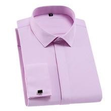 Chemise classique à manches longues pour hommes, chemise française à manches longues, unie, de qualité, cintrée