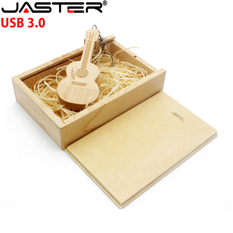 JASTER USB 3.0 (over 1 PCS Free LOGO) Wooden Guitar+box Usb Flash Disk Pendrive 4gb 16gb 32gb 64GB Photography Customized Gift