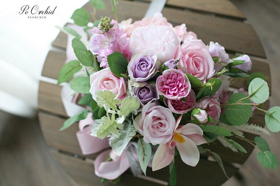 Bouquet De fleurs De soie De mariée Rose orchidée artificielle Ramo Dama Bouquet d'honneur De mariage Bouquet d'hortensia violet et Rose - 5