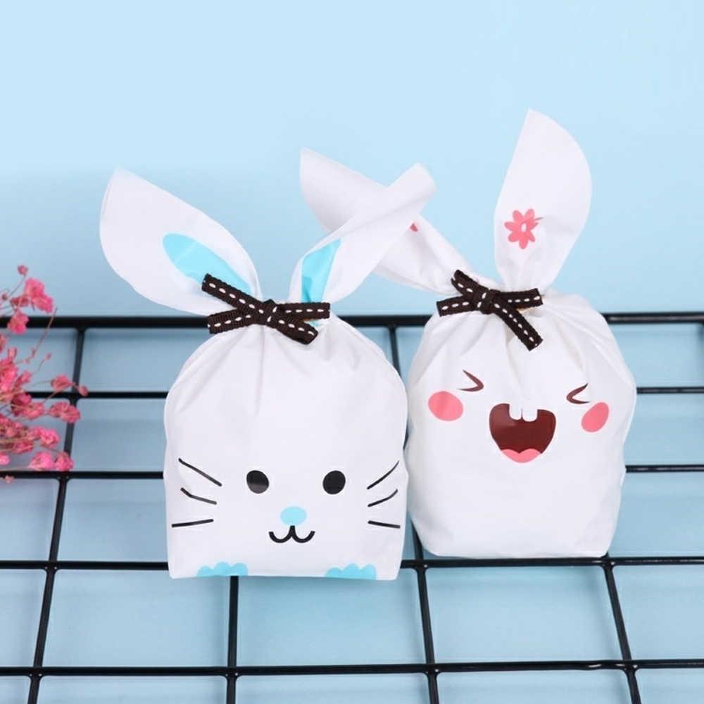 10 ชิ้น/ล็อตน่ารักกระต่ายหูถุงคุกกี้ของขวัญถุงสำหรับขนมบิสกิตขนมขบเคี้ยวแพคเกจงานแต่งงาน Favors ของขวัญตกแต่งคริสต์มาส