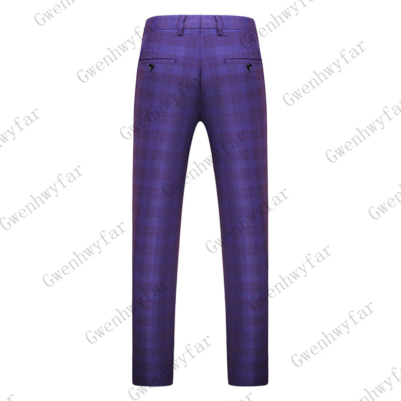 Gwenhwayfar, мужские синие клетчатые брюки, деловой костюм, брюки, деловые повседневные облегающие брюки, Классический Клетчатый костюм, брюки для свадьбы