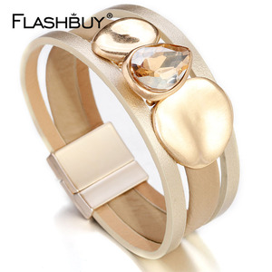 FLASHBUY Big Crystal Metal Lea