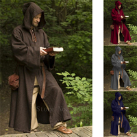 Male Halloween Renaissance Hooded Robe Medieval Solid Wizard Friar Monk Cosplay Costume Vintage Party Stage Cape Cloak